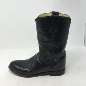 JUSTIN BLACK LEATHER BOOTS 8B